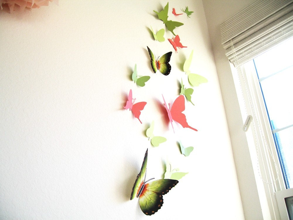 15 butterflies spring paper wall decor art 3d green for 3d wall butterfly decoration
