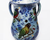 Pottery Ceramic Handmade Washing Wash Cup Blue Gold Birds Flowers Judaica OOAK