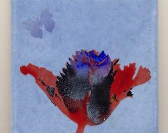 Ceramic HandmadeTulip Butterfly Silkscreened Blue Wall Tile