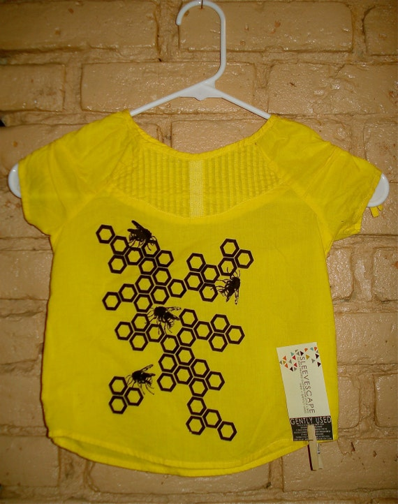 Upcycled Toddler Girls Honey Bee Screen Printed Summer Shirt  3T- 4T  Yellow