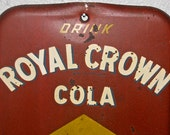 Antique 1950's  ROYAL CROWN COLA  Tin / Metal Thermometer Soda Sign