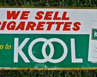 Vintage Kool Cigarette Tobacco Tin / Metal Advertising Sign