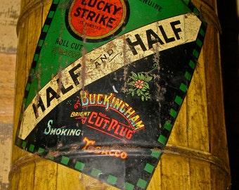 Vintage Barrel Shaped Lucky Strike / Buckingham Cut Plug Tobacco Advertising Tin Can