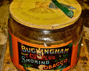 Antique Buckingham Bright Cut Plug Smoking Tobacco Glass Jar / Humidor  /  Cigarette, Pipe Tobacco