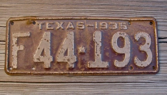 Vintage 1935 Texas License Plate Old Collectible