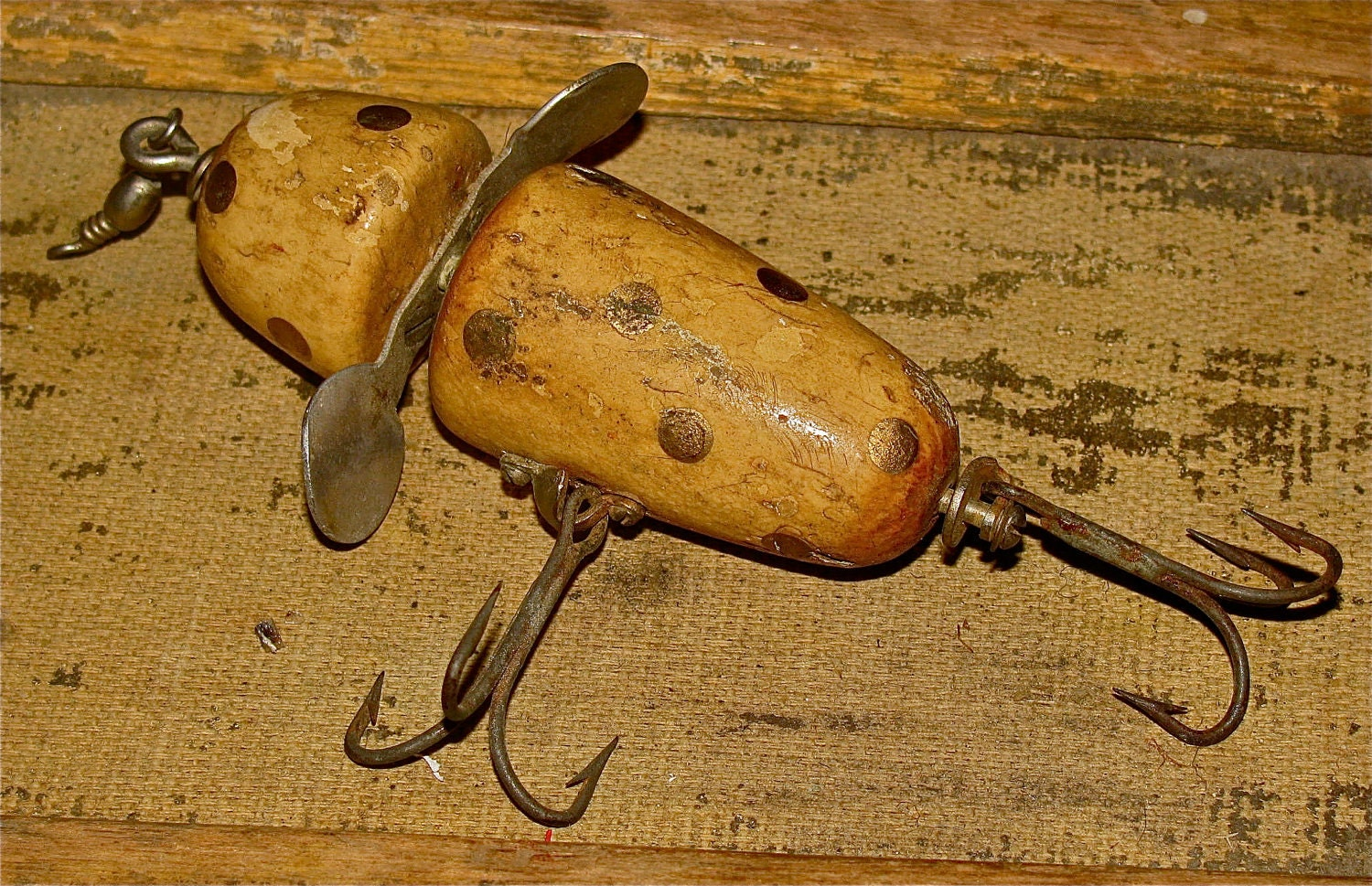 Vintage wooden pflueger globe fishing lure by downthepipelines for Vintage fishing lures for sale