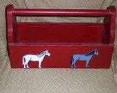 Handmade Painted Wooden Toolbox/Caddy-Horse Theme