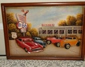 Vintage 3D Carved Wood Route 66 Framed Picture-With Old Fashion Cars/Hot Rods