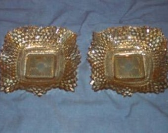 Amber Depression Glass-Ruffled Dish/Ashtray-Lot of 2