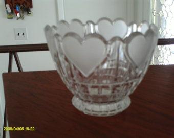 vintage heart shaped crystal bowl