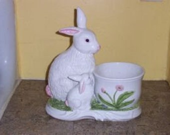 Oggetti Easter Bunny/Rabbit Glazed Ceramic Planter-Made In Italy