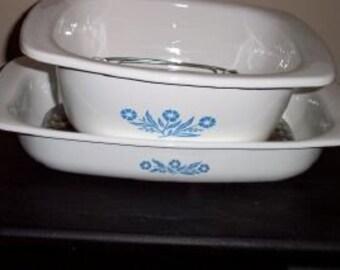 Blue Cornflower Corningware Dutch Oven & Roaster-Set of 2