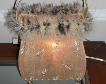 Shabby Chic Purse Lamp-With Leaf Print And Feathers