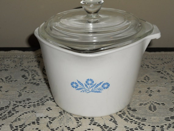 Vintage Corningware Blue Cornflower Saucemaker-1 Quart-With Lid