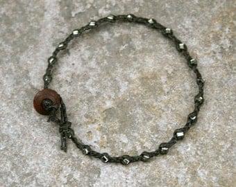 Black and Silver Black Single Wrap Bracelet