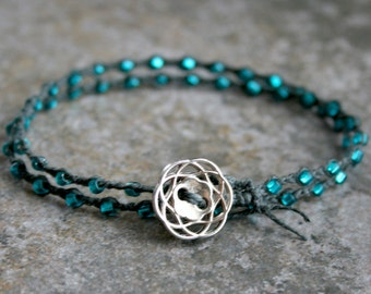 Double Wrap Bracelet Silver Teal and Gray For Men