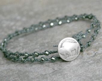Mens Buffalo Button Double Wrap Bracelet in Gray Gunmetal