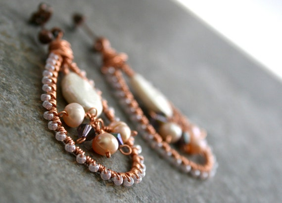 Pearls and Copper Wire Wrapped Earrings
