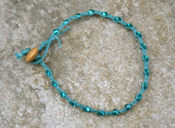 Turquoise and Teal Single Wrap Bracelet Perfect Beach Jewelry