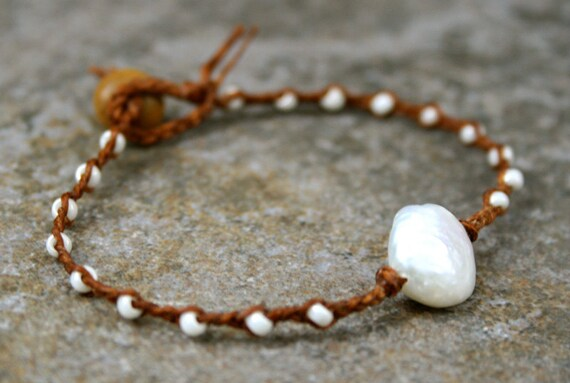 Pearl Braided Bracelet Brown and Pearl White- Beach Jewelry