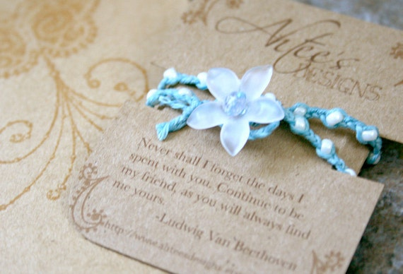 Friendship Bracelets- Baby Blue and Pearl White