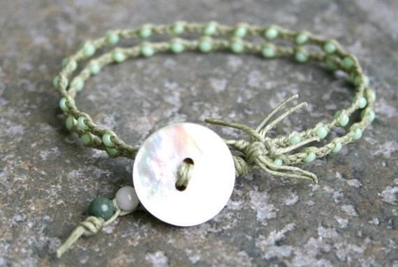 CLEARANCE Beach Jewelry Mint Green Sage Shell Bracelet Double Strand