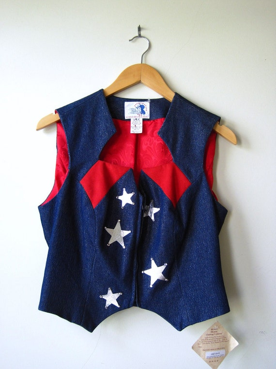 vintage sparkle denim vest with silver starrs red white and blue NWT Hobby Horse Clothing Miss Rodeo America rockabilly fourth of July
