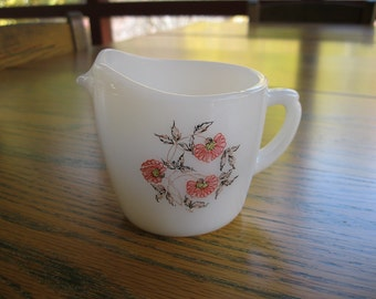 Vintage Milk Glass Fire King Creamer - Fleurette Pattern