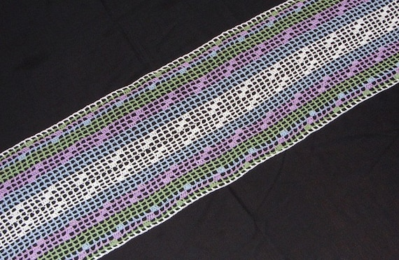 Striped Table Runner in Blue, Purple, Green and White