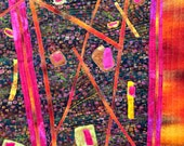 An art quilt for sale. Fiber art wall hanging in a geometric abstract style, bright metallic fuchsia.,teal  gold