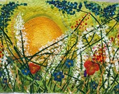 Applique Art Quilt Original Hand Painted Silk