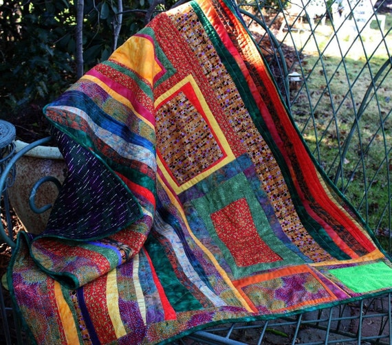 Sale--Modern lap quilt Think Klimt gold green orange batiks original design
