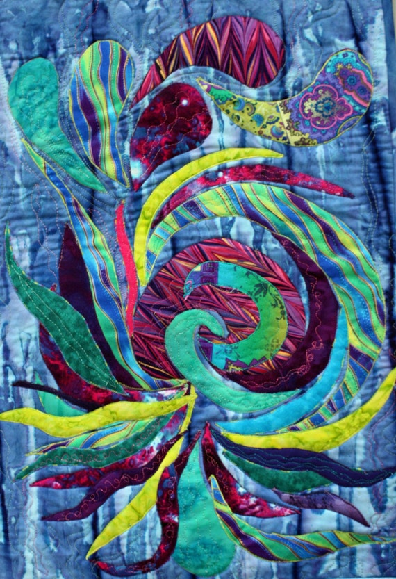 Abstract Applique Art Quilt In Blue Teal Purple And Green