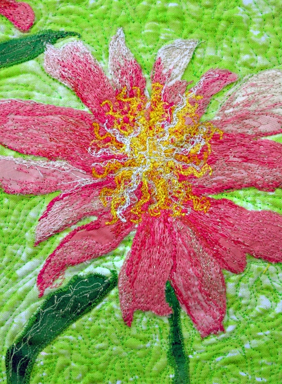 wall hanging original Reduced art quilt Asian peonies in pink and green