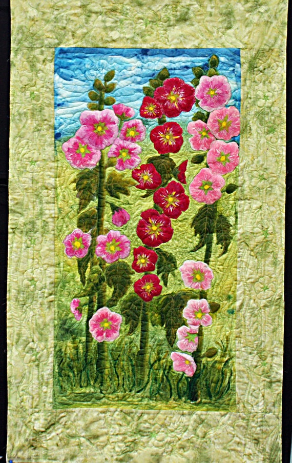 """Original art quilt. Hollyhocks in Sussex. Mounted """"painting style"""". Pink & green hand painted silk."""