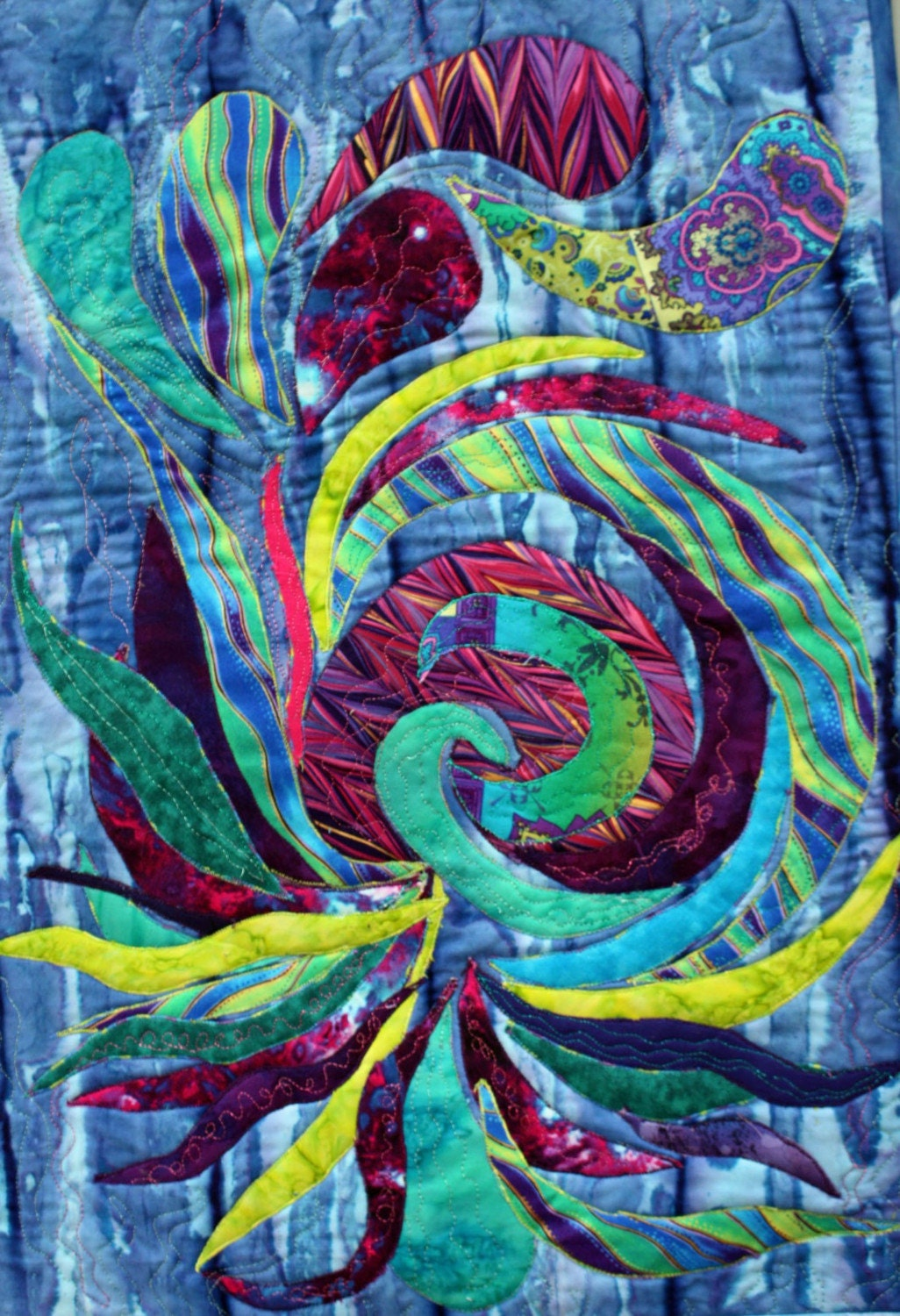 Abstract Applique Art Quilt In Blue Teal By