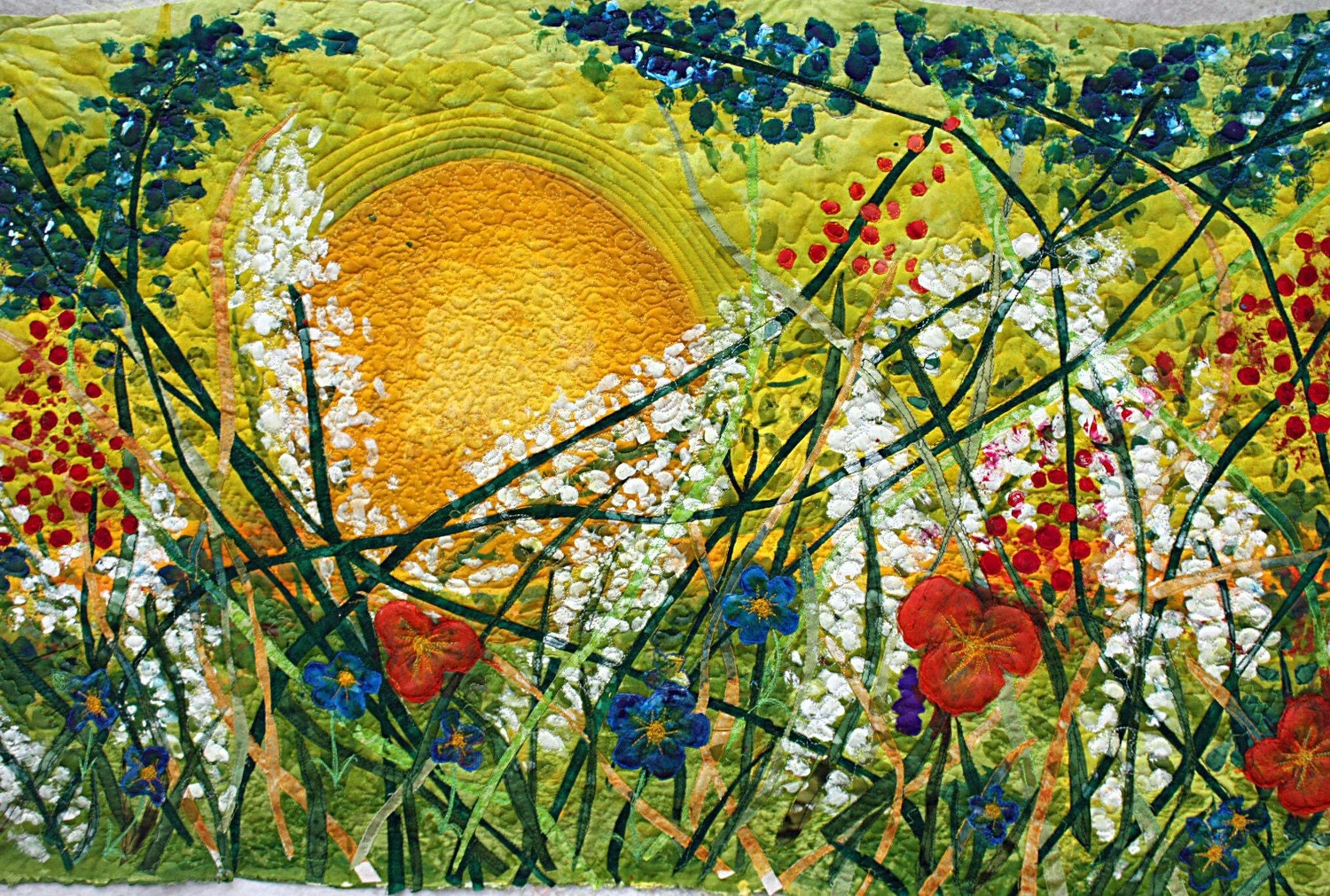 Applique Art Quilt Original Hand Painted Silk