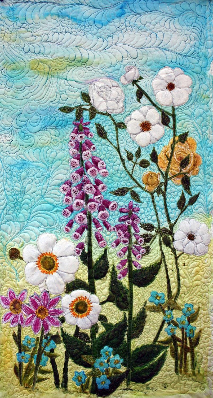 Quilts Art Quilt Silk Painted Original Flower Garden