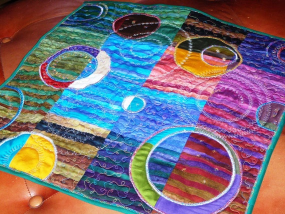 Moons Of Minasu handmade fiber art quilt