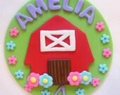 Fondant Cake Topper - Girl Farm, Barnyard Edible Cake Topper