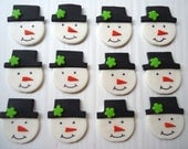 Edible Winter Cupcake Toppers - Snowmen Fondant Toppers - Winter Holiday