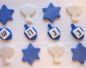 Edible Cupcake Toppers - Hanukkah Holiday Fondant Toppers