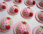 Edible Cupcake Toppers - Strawberry Hat Fondant Cupcake Decorations