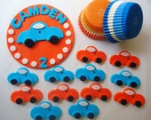 Fondant Cake, Cupcake Toppers - Little Car Deluxe Party Package