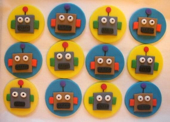Fondant Cupcake Toppers - Robots