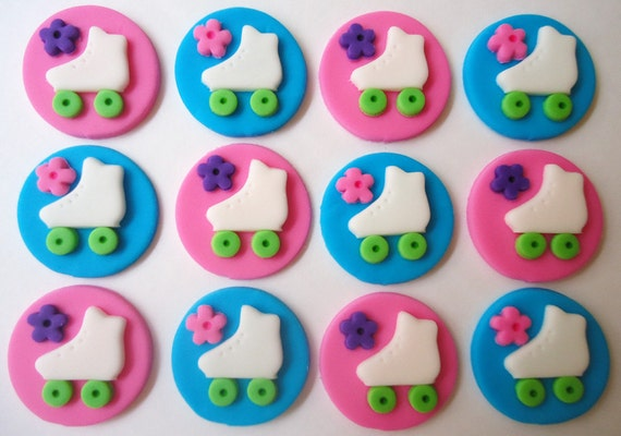 items similar to edible cupcake toppers roller skates fondant cupcake decorations on etsy. Black Bedroom Furniture Sets. Home Design Ideas