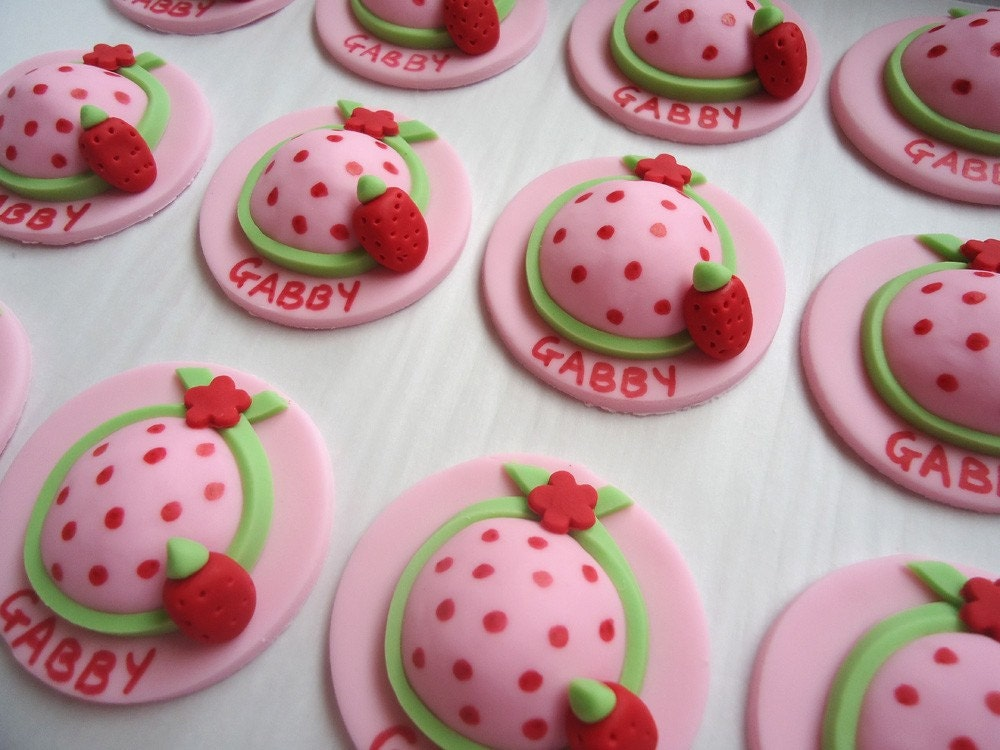 Items similar to edible cupcake toppers strawberry hat for How to make edible cake decorations at home