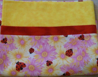 Daisies with Ladybugs - Snuggly Soft Flannel Standard Size Pillowcase