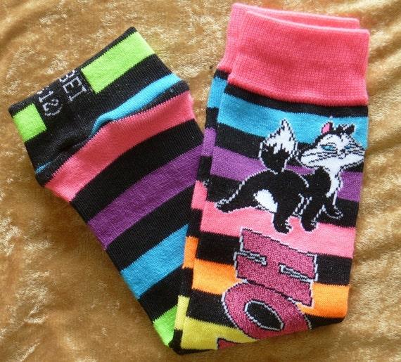 Pussyfoot Looney Tunes cat Hot Stuff neon leg warmers / baby legs / arm warmers