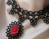 Neovictorian Tatted lace necklace with RED ROSE Cabochon  - LAST ONE AVAILABLE